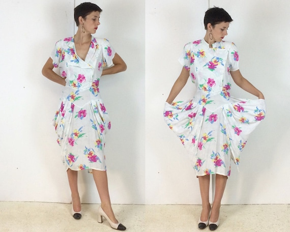 Vintage 1980s Floral Pin Up Summer Dress with Pani