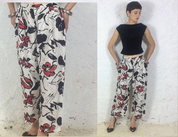 Silk mix Handmade vintage Palazzo pants Floral Wid