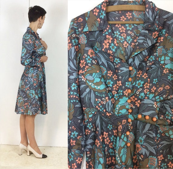 1970s Handmade Shirt dress Psychedelic print with… - image 7