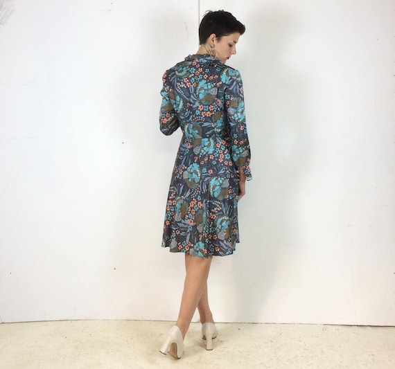 1970s Handmade Shirt dress Psychedelic print with… - image 6