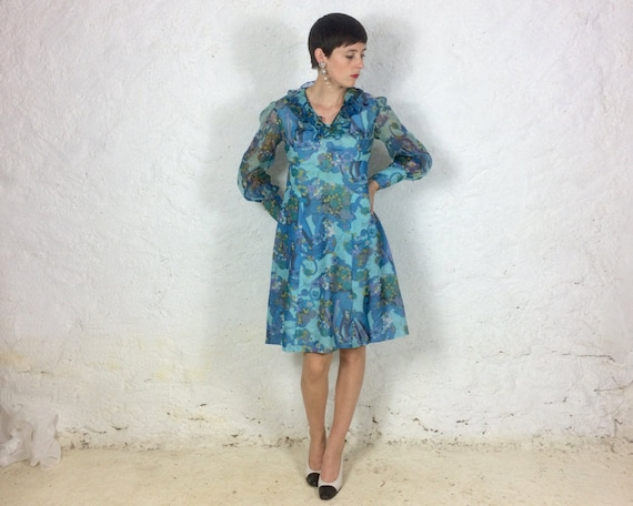 1960s Handmade Long Sleeves Blue Psychedelic Silk