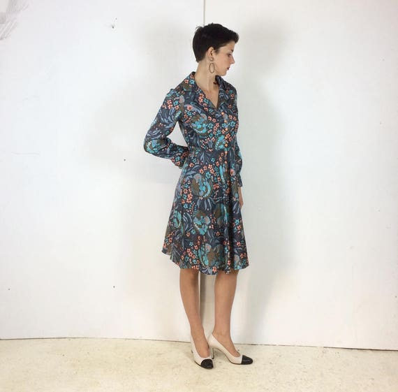 1970s Handmade Shirt dress Psychedelic print with… - image 8
