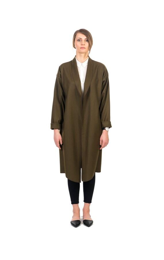 20 % DE RABAIS! Green en Cardigan en Green laine / main manteau / Green Coat / manteau d'été / veste en laine / Oversize Cardigan vert foncé / Long manteau 0ff15c