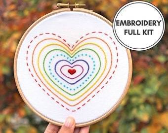Rainbow Hearts- Hand Embroidery Kit- Beginner embroidery kit- Modern Embroidery Kit- Modern Embroidery Hoop art- Rainbow embroidery- LGBT