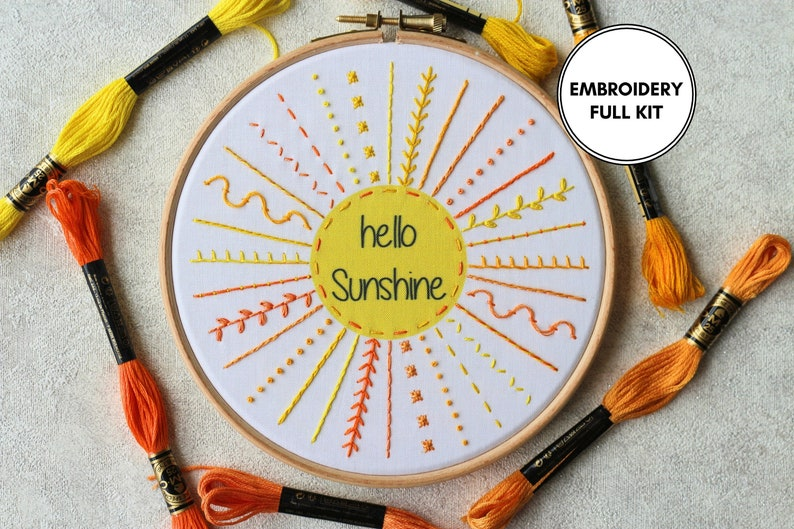 DIY Embroidery Kit Embroidery Kit Embroidery Sampler Kit Hello Sunshine Embroidery Kit Beginner Summer Embroidery Kit DIY Craft Kit