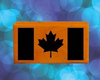 Canada Flag Rubber Stamp Mounted Wood Block Art Stamp