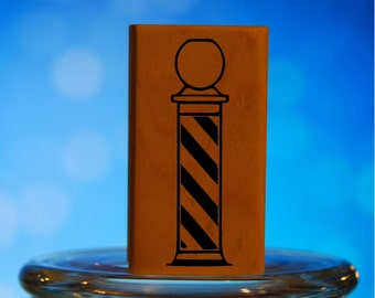 Barber Hair Stylist Pole Rubber Stamp Mounted Wood Block Art Stamp