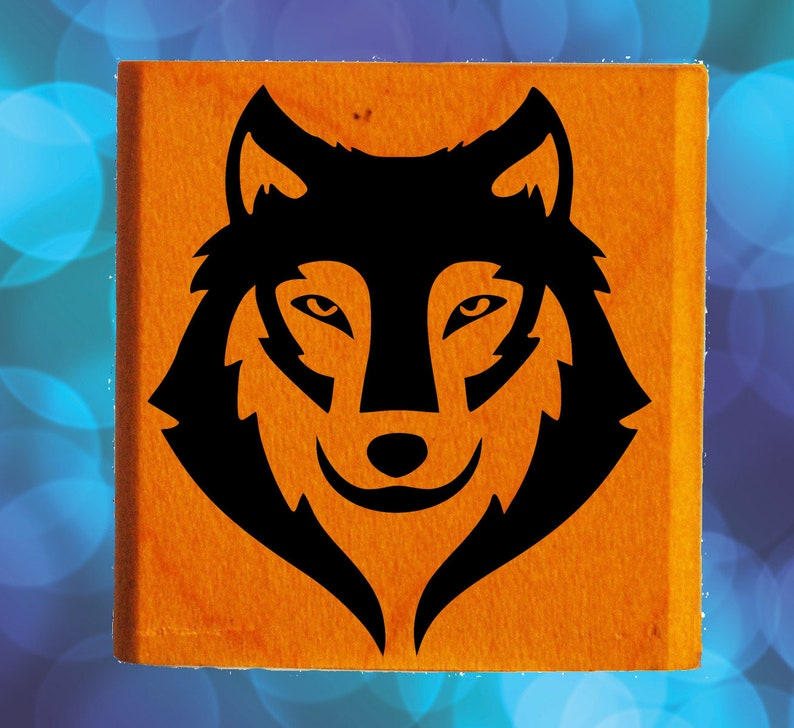 Wolf Face Rubber Stamp Mounted Wood Block Art Stamp