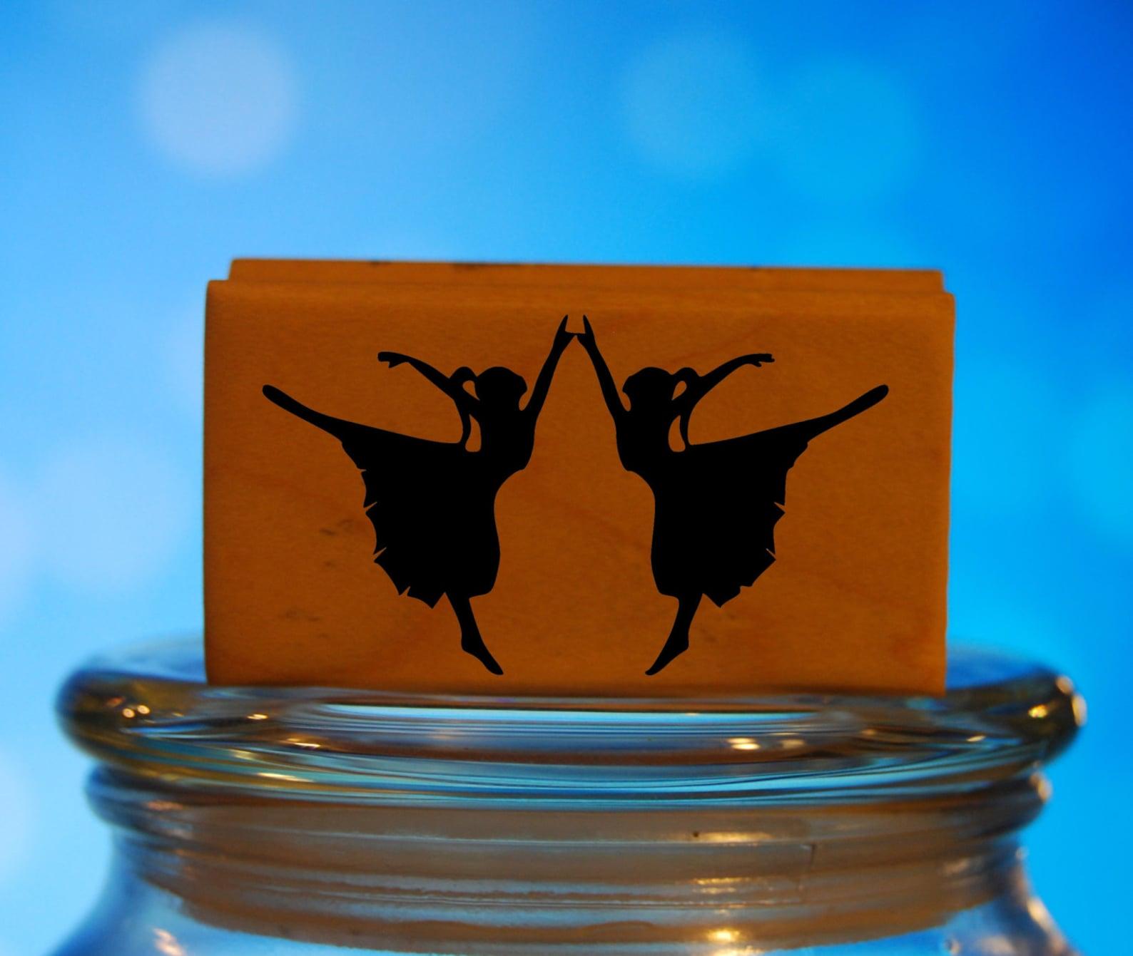 ballet dancers rubber stamp mounted wood block art stamp