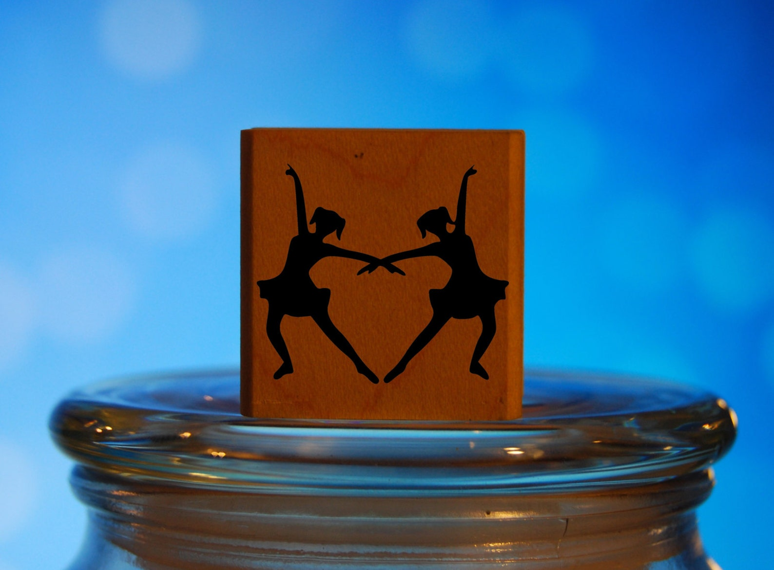 ballet dancers rubber stamp mounted wood block art stamp