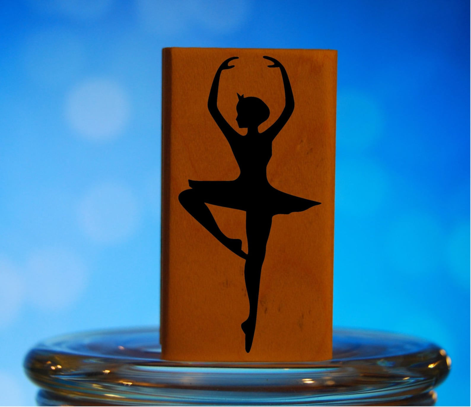 ballet dancer rubber stamp mounted wood block art stamp