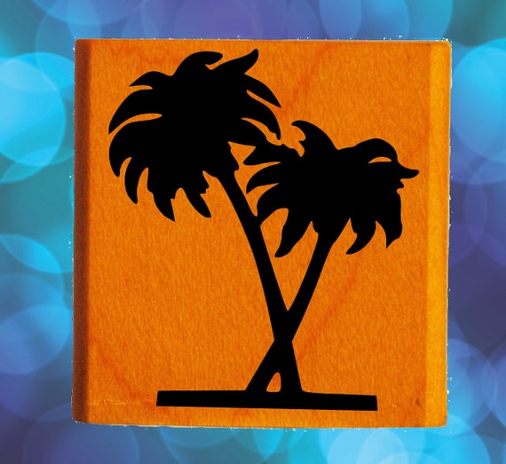 Two Palm Trees Rubber Stamp Mounted Wood Block Art Stamp