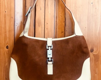8bcc3ffa7247 Vintage Gucci Jackie O Hobo Shoulder Bag in Brown Pony Fur w/ Tan Leather  Trim