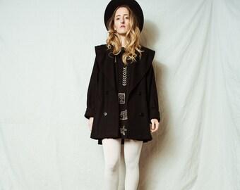 AMAZING Vintage Black Wool Coat / XS S / 90s vintage coat jacket retro hipster wool overcoat with huge collar