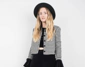 AMAZING Vintage Black and White Houndstooth Short Fitted Jacket XS S hipster jacket coat womens outerwear overcoat velvet collar cropped
