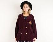 VINTAGE burgundy RALPH LAUREN corduroy coat S-M hipster jacket coat womens outerwear overcoat jacket red wine