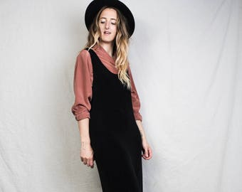 AMAZING Vintage Sleeveless Black Slinky Maxi Dress / S / 90s grunge hipster summer layering jumper playsuit