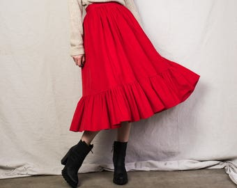 7584d629f AMAZING Vintage Red Micro Corduroy Peasant Skirt / S / hipster flowy boho  hippie festival skirt most amazing skirt mid length skirt