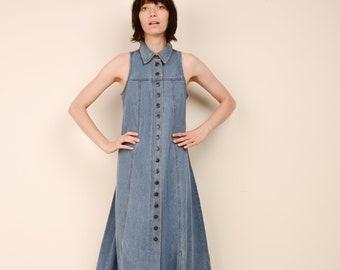 bdcc3f3a1c VINTAGE DENIM MAXI Dress   S + M   90s hipster dress boho dress blue jeans  button down denim shirt dress