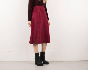AMAZING Vintage Red and Navy Pleated Knit School Girl Skirt / S / 90s hipster flowy boho hippie festival catholic elastic waist skirt
