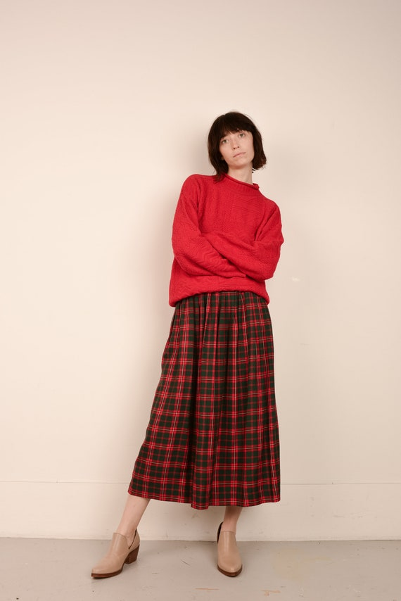 Vintage Red Plaid Pleated Skirt  / S