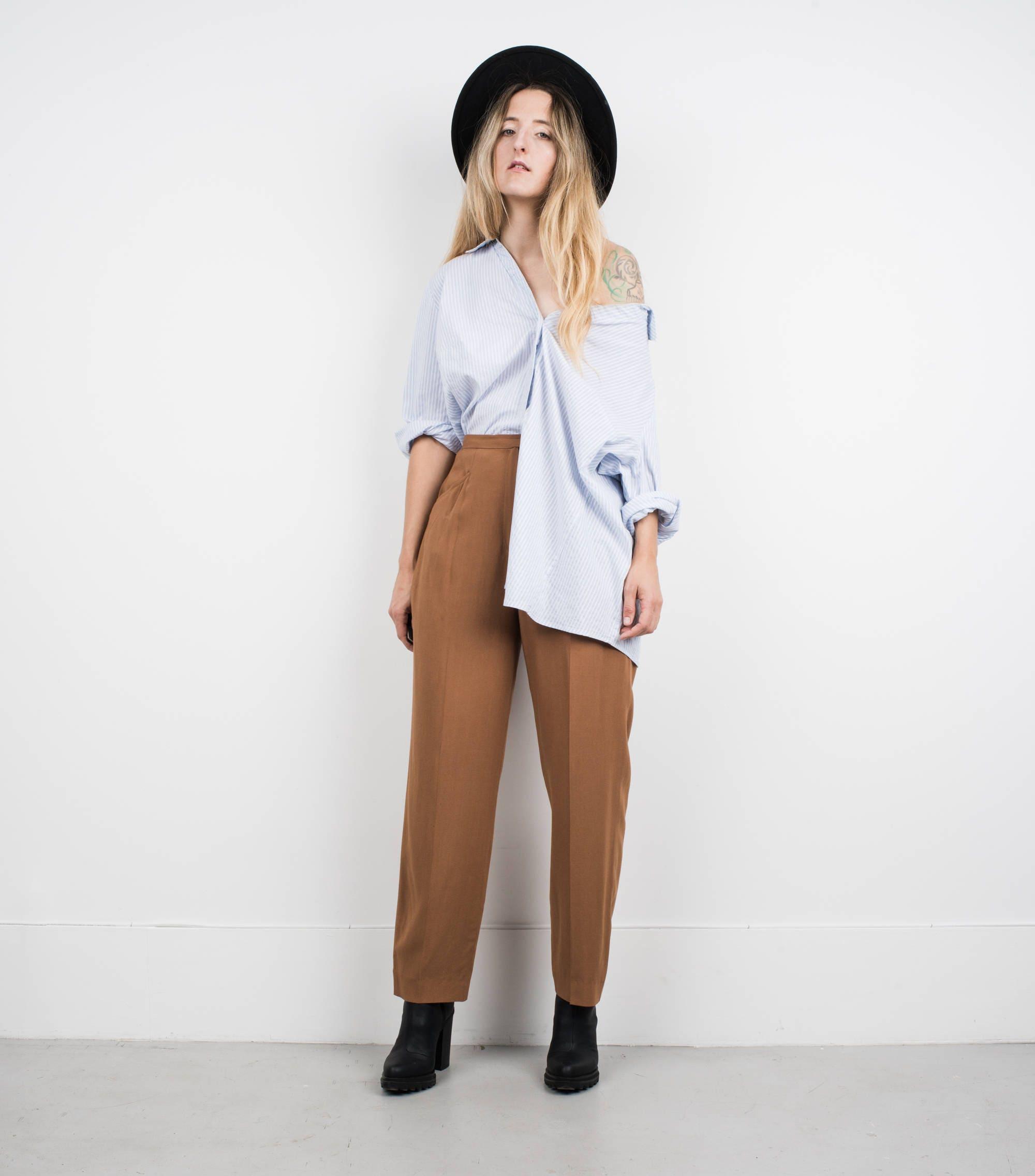 Amazing Vintage White And Blue Striped Oversized Blouse S Etsy