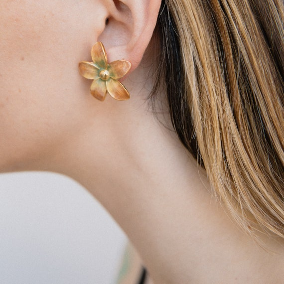 VINTAGE WATERCOLOR FLOWER Statement Earrings
