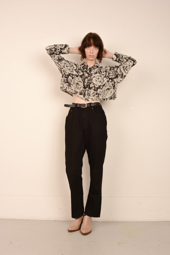 Vintage Black High Rise Boyfriend Denim Pants  / S