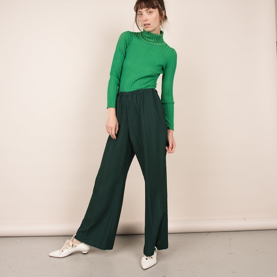 Vintage Forest Green Cable Knit Easy Pants  / M/L