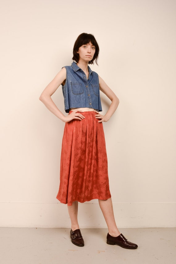 Vintage Flowy Rust Floral Skirt  / S