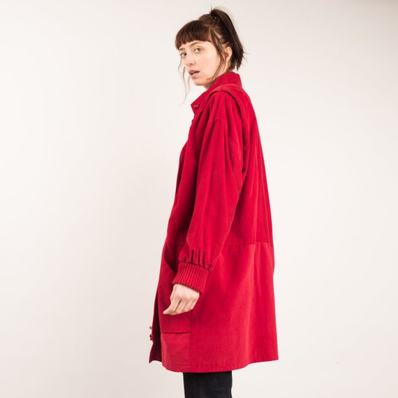 Vintage Ruby Red Corduroy Chore Jacket / S/M