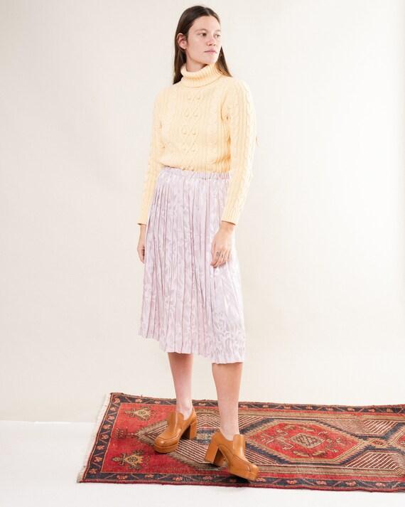 Vintage Lilac Pleated Satin Skirt / S/M