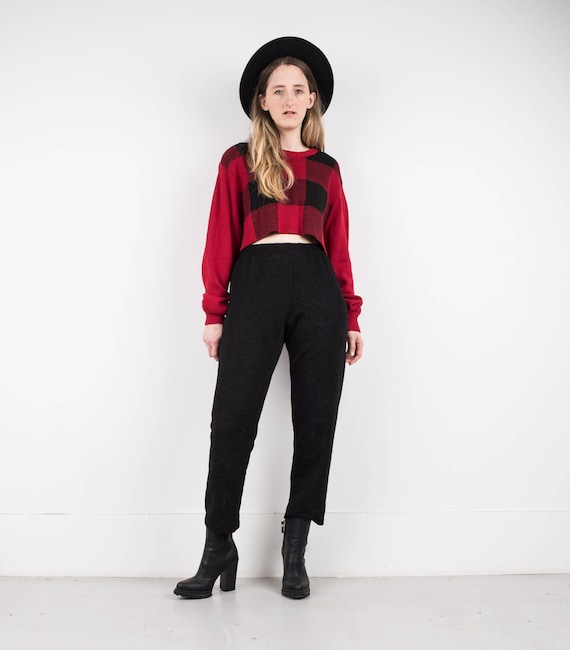 VINTAGE BLACK TEXTURED trousers / S / hipster pant