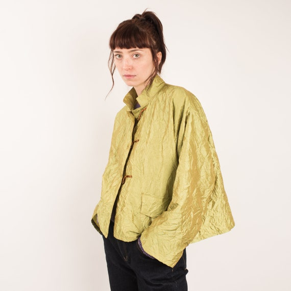 Vintage Lime Green Crinkle Jacket / S