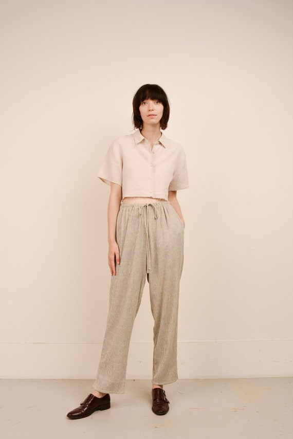 Vintage Creme and Black Striped Easy Pants  / S/M