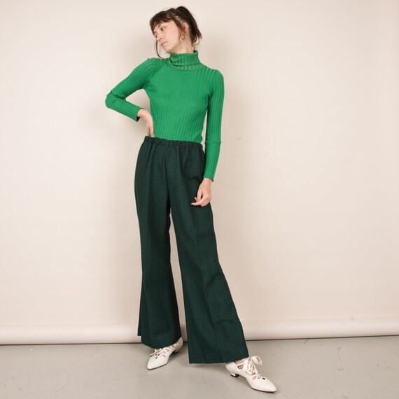 Vintage Forest Green Cable Knit Easy Pants  / M/L - image 4