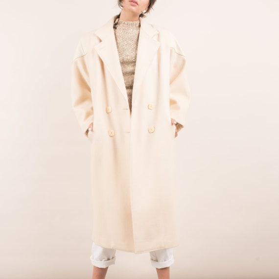 Vintage Oversized Cream Wool and Leather Overcoat