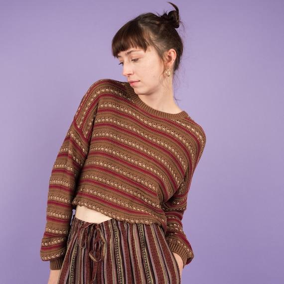 Vintage Earthtone Striped Cropped Chunky Knit Swea