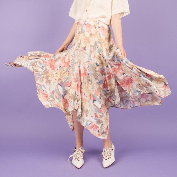 Vintage Creme + Pastel Floral Blanket Skirt  / XS/