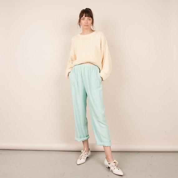Vintage Silk Aqua Pastel Easy Pants  / S/M