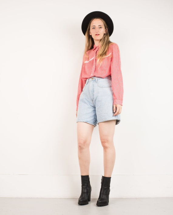 VINTAGE LIGHT BLUE Denim Mom Shorts / S M / hipste
