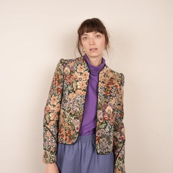 Vintage Floral Structured Tapestry Jacket / S