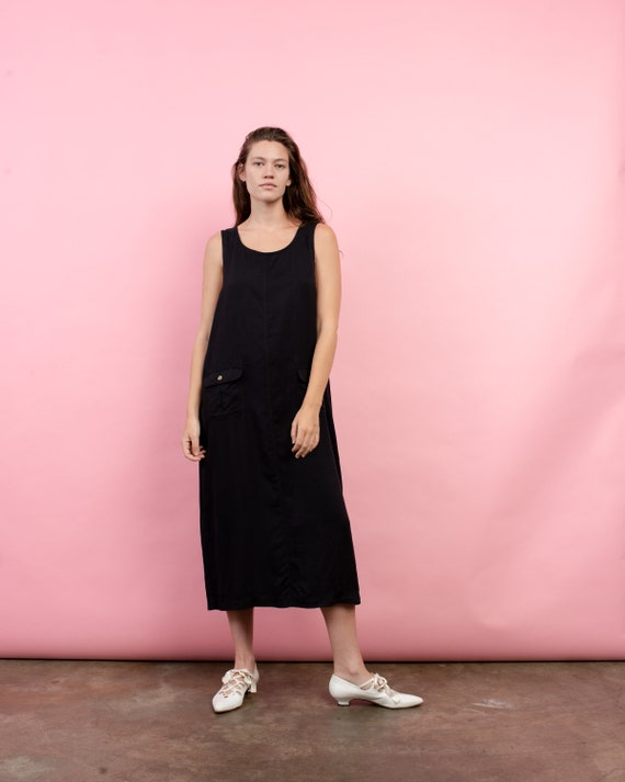 Vintage Oversized Charcoal Overall Maxi Dress / S/