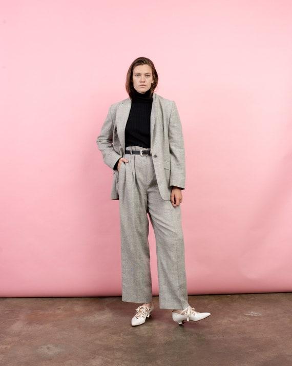 Vintage Oversized Grey Tweed Silk + Linen Two Piec