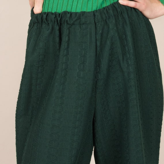 Vintage Forest Green Cable Knit Easy Pants  / M/L - image 5