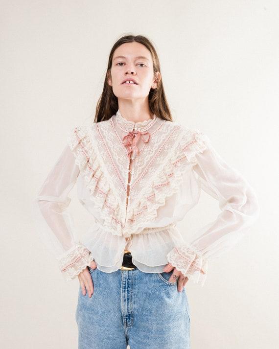 Vintage 70s Chiffon Lace Blouse / S/M
