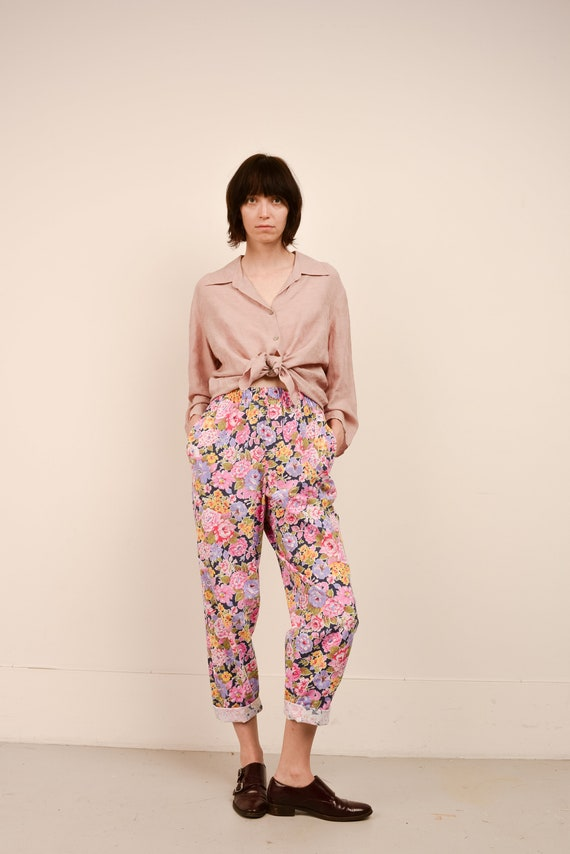 Vintage Candy Color Floral Easy Pants  / S