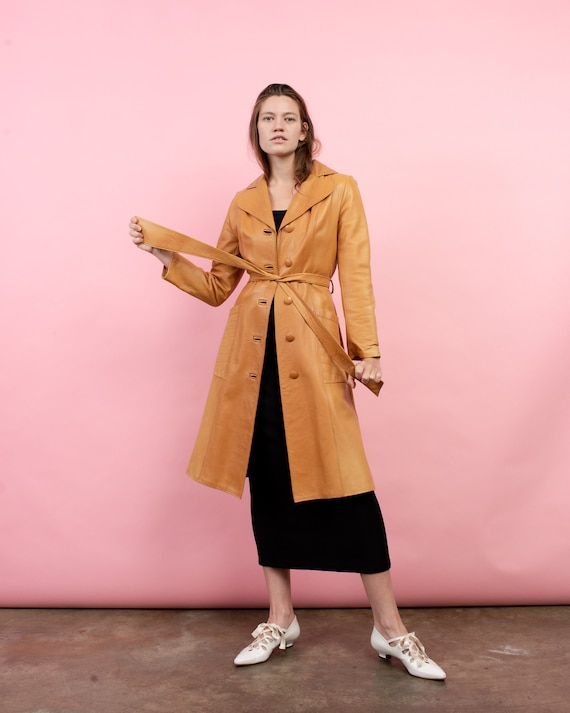 Vintage 70s Orange Leather Trench Coat  / S