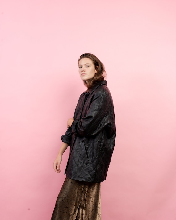 Vintage Oversized Quilted Leather Jacket / S/M