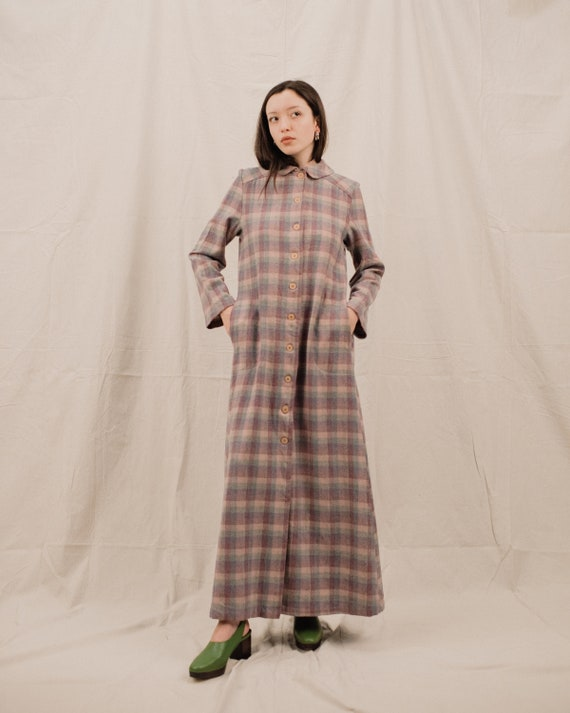 Vintage 70s PENDLETON Pastel Plaid Maxi Dress / S